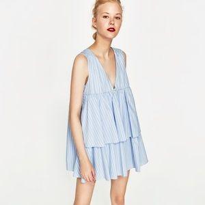 Blue and white striped Zara dress